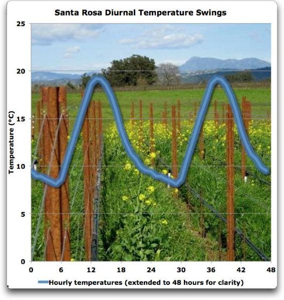 santa rosa diurnal temperature