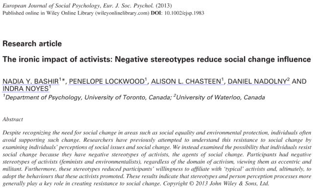The ironic impact of activists: Negative stereotypes reduce