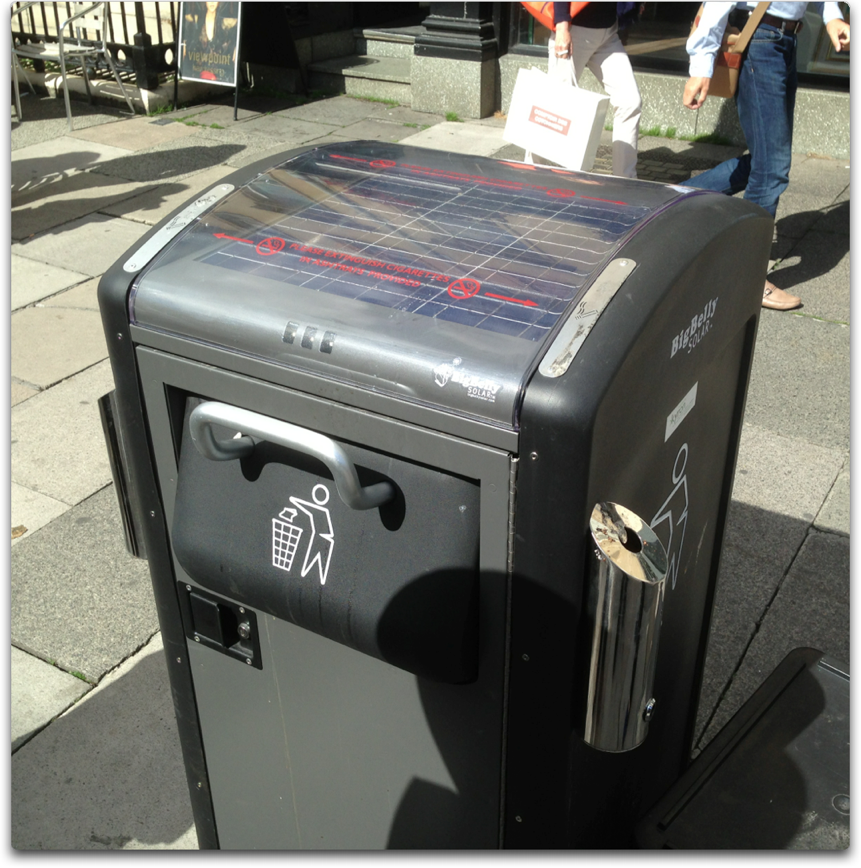 big belly solar garbage can