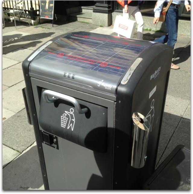 big belly solar garbage can