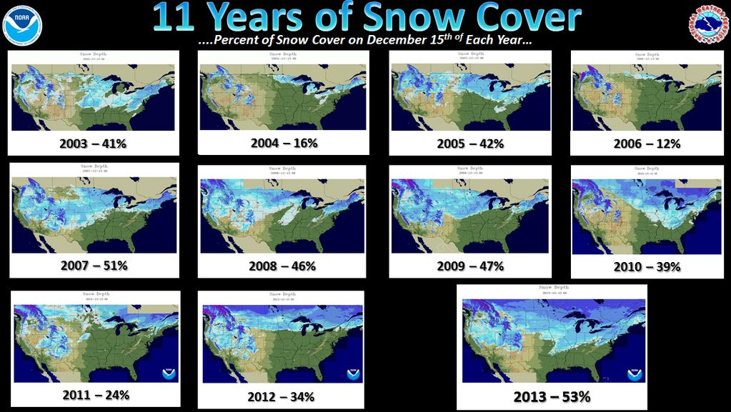 Over Half The USA Covered In Snow The Most In  Years Watts Up - Us snowfall map 2009