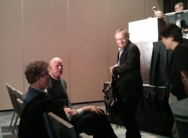 Gov. Jerry Brown talks with Richard Alley just feet away from me.