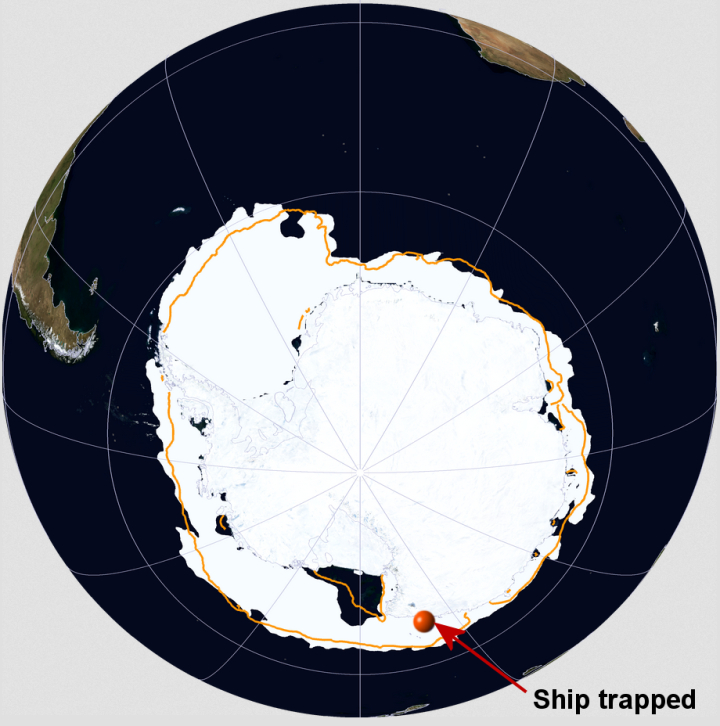 Commonwealth Bay region of Antarctica ship_trapped