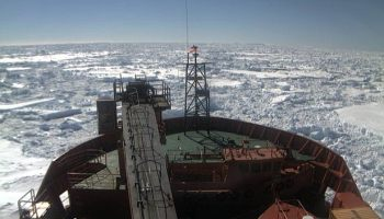 70afb39156 Rescue ship Aurora Australis slowed to a crawl - fighting heavy sea ice to  reach open