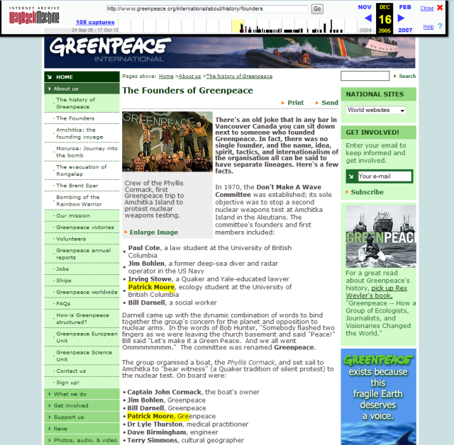 Greenpeace disappears a founder, much like 'The Commissar