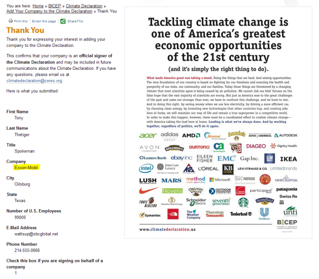 Exxon-Mobil joins the 'National Climate Declaration' | Watts