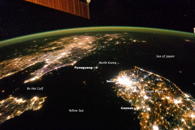 Acquired January 30, 2014. Flying over East Asia, astronauts on the International Space Station (ISS) took this night image of the Korean Peninsula