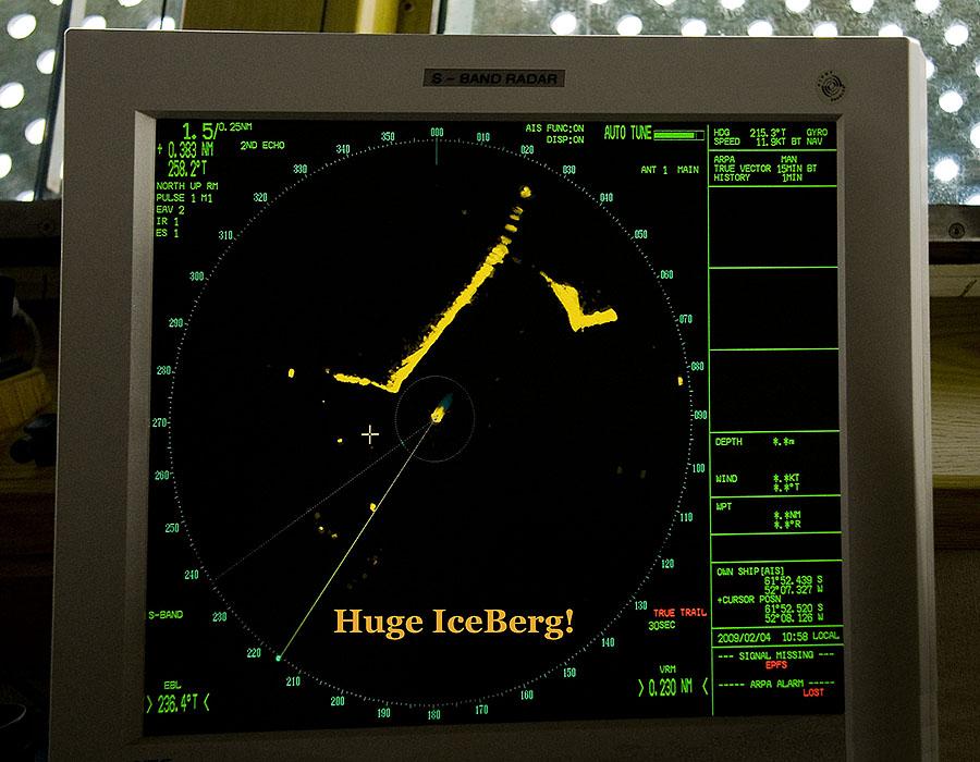 Image from the bridge of the Ocean Nova Antarctica Cruise Ship