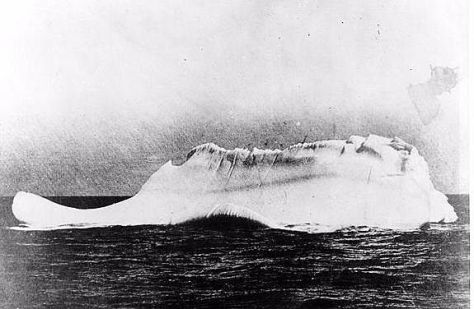 The photo of the iceberg that sank purportedly the Titanic.