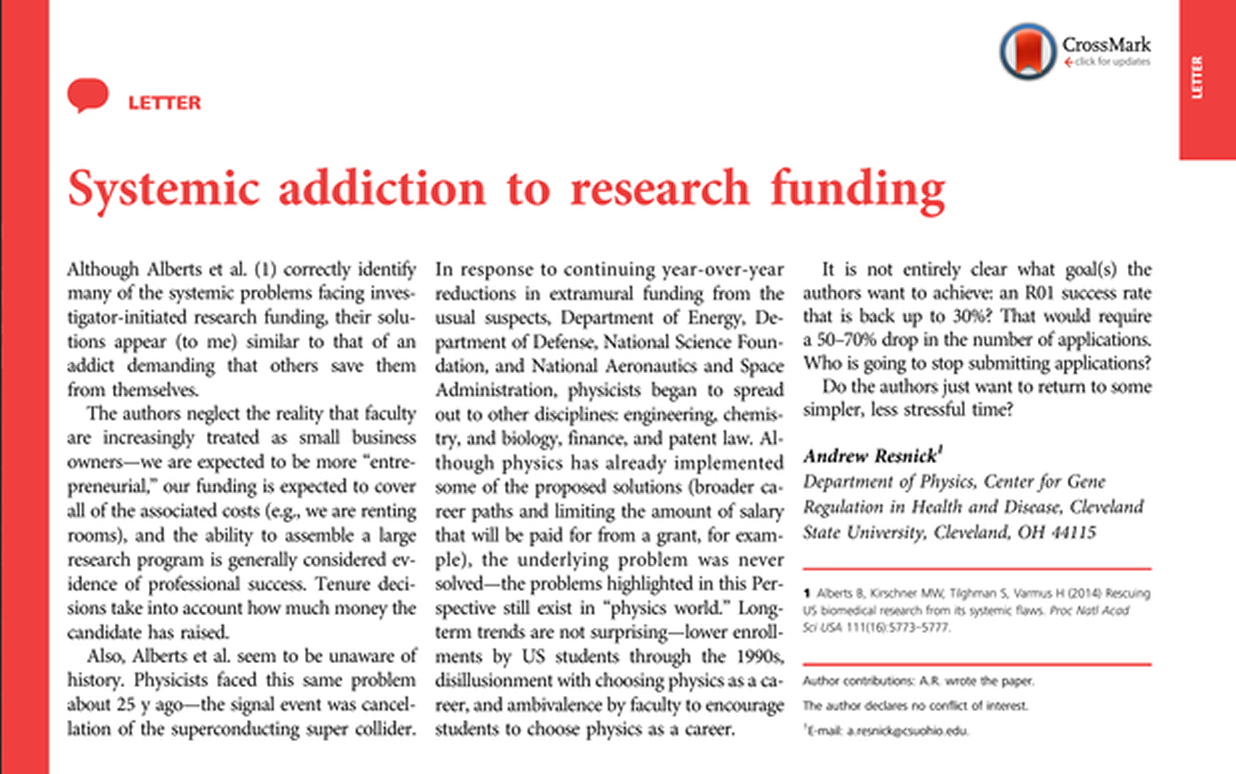 In PNAS, a surprising letter: 'Systemic Addiction to