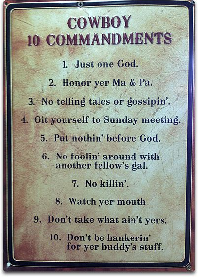 cowboy ten commandments