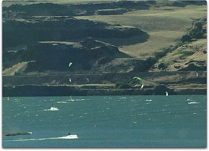 windsurfers and kites