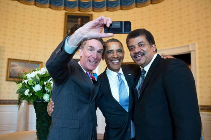 Bill Nye, Barack Obama, and Neil DeGrasse Tyson selfie