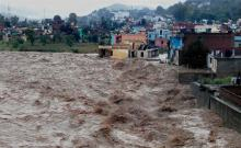 A view during flash floods in Rajouri district in J&K on September 8, 2014 (Press Trust of India photo)