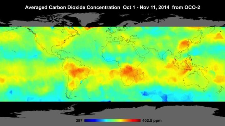 Global Atmospheric Carbon Dioxide Global atmospheric carbon dioxide concentrations from Oct. 1 through Nov. 11, as recorded by NASA's Orbiting Carbon Observatory-2. Carbon dioxide concentrations are highest above northern Australia, southern Africa and eastern Brazil. Preliminary analysis of the African data shows the high levels there are largely driven by the burning of savannas and forests. Elevated carbon dioxide can also be seen above industrialized Northern Hemisphere regions in China, Europe and North America. Image credit: NASA/JPL-Caltech