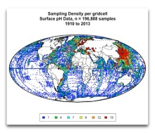 Sampling Density Map Surface pH Atlantic