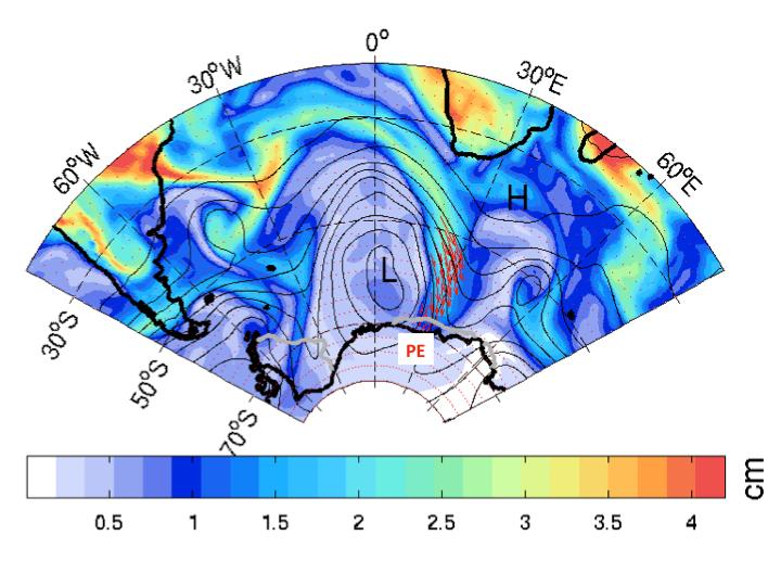 L indicates the atmospheric river's low-pressure trough and H indicates the blocking high-pressure ridge further downstream, directing moisture transport (red arrows) into the Dronning Maud Land and the Princess Elisabeth base (white square). The colours show total moisture amounts (in centimetres equivalent of water). Credit: Irina Gorodetskaya