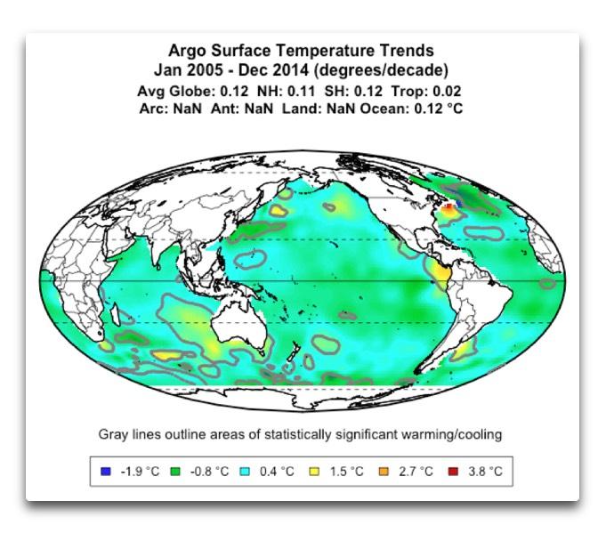 argo surface temperature trends map