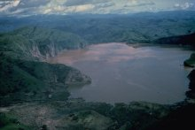 Lake Nyos, a volcanic crater lake located in the Northwest Region of Cameroon