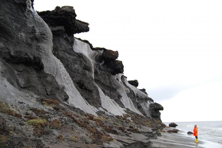 Exposed ice wedges at the coast of the Siberian island Muostakh. With this picture in mind, one can understand, why early researchers thought ice wedges could be nothing else than buried glaciers. Credit Photo: Thomas Opel, Alfred-Wegener-Institut