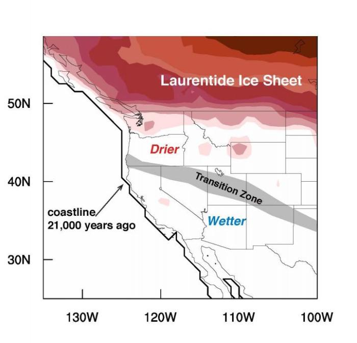 Reconstruction of the climate 21,000 years ago at the peak of the last ice age in the western US found that the transition between the dryer zone in the north and wetter zone in the south ran diagonally from the northwest to southeast. Credit :Jessica Oster, Vanderbilt University