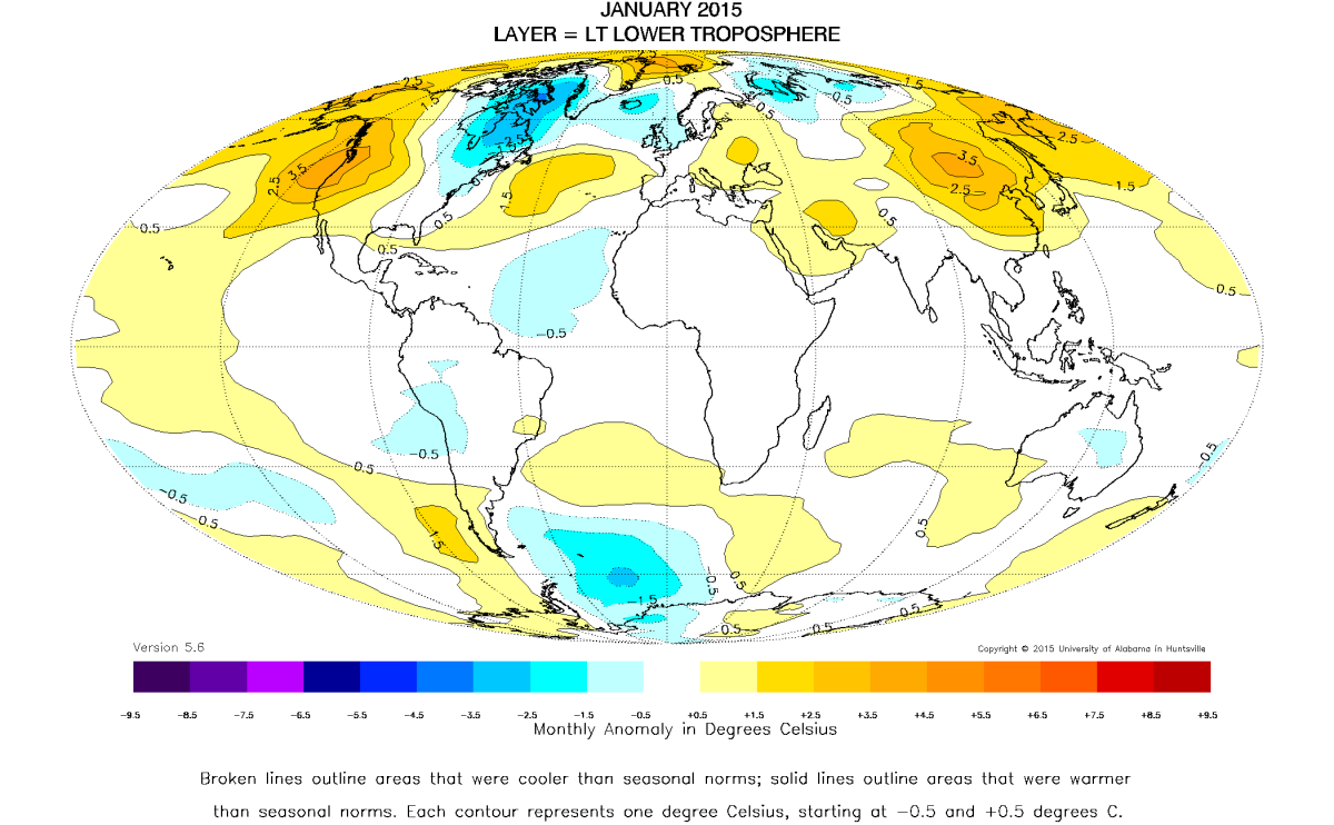 Global Temperature Report January 2015 not much change from – Earth Temperature Map
