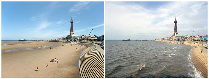 Blackpool, Lancashire. 16 August 2010. Low water 11.20am, high water 4pm