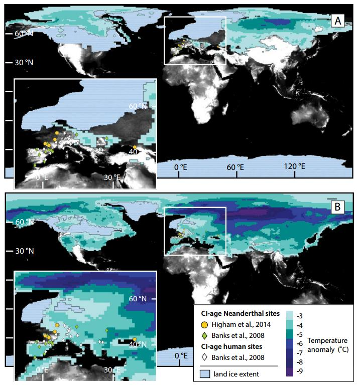 Figure 4 in B.A. Black et al.: This image shows annually averaged temperature anomalies in excess of 3°C for the first year after the Campanian Ignimbrite (CI) eruption compared with spatial distribution of hominin sites with radiocarbon ages close to that of the eruption. Credit B.A. Black et al. and the journal Geology