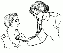 Doctor examining a patient with a stethescope