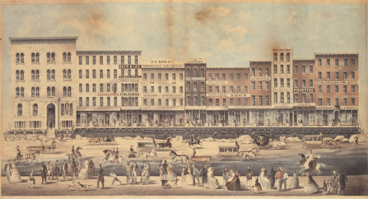 Raising a block of buildings on Lake Street. Public domain image, Edward Mendel - Chicago Historical Society