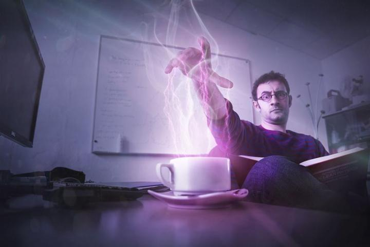 CERN physicist Valerio Rossetti harnesses the Force for more mundane tasks, such as reheating coffee (Image: Max Brice and Daniel Dominguez/CERN)
