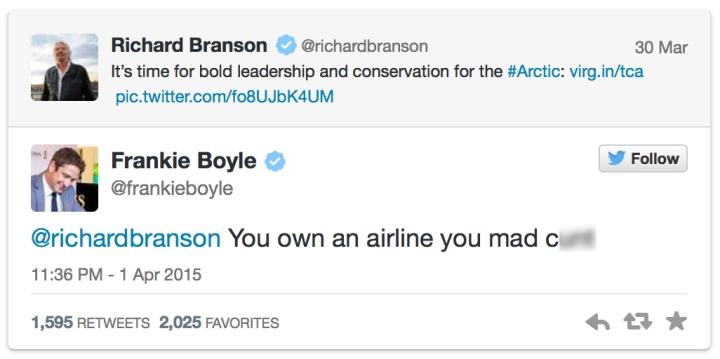 Boyle's response to Branson's green posturing.