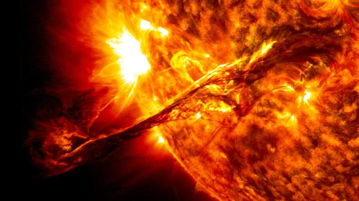 A number of NASA instruments captured detailed images of this coronal mass ejection on Aug. 31, 2012. Although CMEs can damage sensitive technological systems, this one just struck a glancing blow to Earth's atmosphere. New research that quasi-annual variations in solar activity, which may help experts better forecast these powerful events. Credit Image by NASA