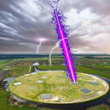 This shows a particle shower initiated by a cosmic ray reaches LOFAR through a thundercloud. Credit: Radboud University