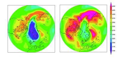 Arctic ozone without the Montreal Protocol (left) and following its implementation (right) on 26 March 2011. Credit: Sandip Dhomse