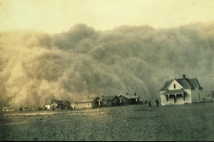 This image shows a dust storm approaching Stratford, Texas. Credit: NOAA George E Marsh Album