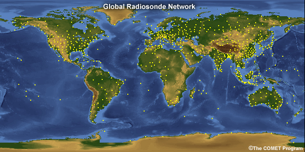 Global Radiosonde Coverage - each dot represents a launch point. Map from University of Graz
