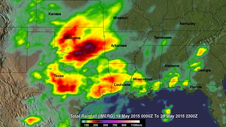 This image shows IMERG rainfall estimates for the week-long period May 19 to 26, 2015 for the south central US. Credits: Images produced by Hal Pierce (SSAI/NASA GSFC)