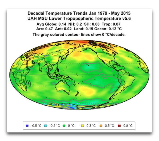 decadal temp trends uah msu tlt v5.6