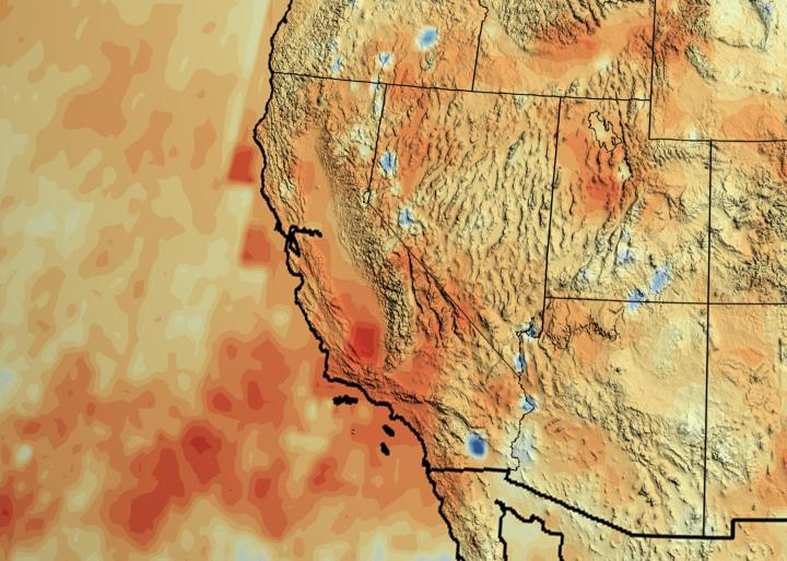 "California's accumulated precipitation ""deficit"" from 2012 to 2014 shown as a percent change from the 17-year average based on TRMM multi-satellite observations. CREDIT NASA/Goddard Scientific Visualization Studio"