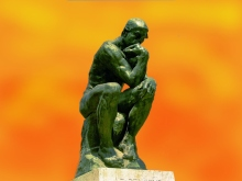 The Thinker by Rodin, original photo by Andrew Horne, modified, public domain source Wikimedia https://commons.wikimedia.org/wiki/File:The_Thinker,_Rodin.jpg