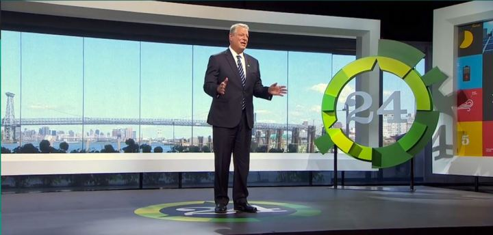 """Al's millions went to fund a massive set for the """"24 hours of climate reality"""""""