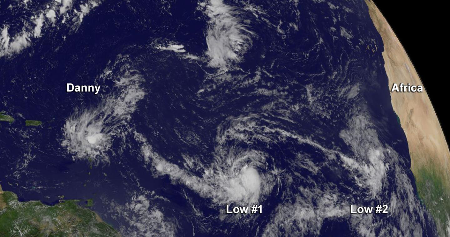 Satellite data from NOAA's GOES-East satellite at 10:45 a.m. EDT on Aug. 24, showed Danny had become stretched out into a trough of low pressure. Two other low pressure areas are developing behind it. CREDIT Credits: NASA/NOAA GOES Project