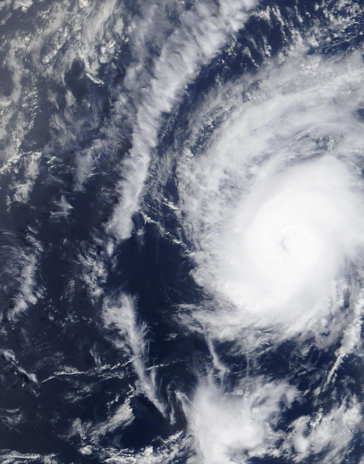 The MODIS instrument aboard NASA's Terra satellite flew over Danny at 10:15 a.m. EDT (14:15 UTC) on Aug 20, 2015, just as it was classified as the 2015 Atlantic Ocean Season's first hurricane. Credits: NASA Goddard's MODIS Rapid Response Team