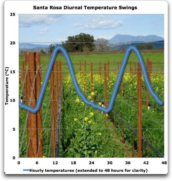 santa rosa diurnal temperature