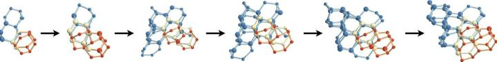 Using a computer model to explore how water molecules connect and nucleate into ice crystals, the researchers found that two types of ice compete for dominance during nucleation: cubic ice (blue) which is less stable, and hexagonal ice (red), which is stable and forms the majority of ice on Earth. Nucleation occurs when water molecules come together to form blobs (pictured above), which grow over time (left to right). Eventually hexagonal ice wins out (not shown). The researchers found that adding new cubic features onto an existing crystalline blob gives rise to nuclei that are more spherical, and hence more stable. In contrast, adding hexagonal features tends to give rise to chains of hexagonal cages that make the nucleus less spherical, and hence less stable. CREDIT Images courtesy of Amir Haji-Akbari, Princeton University.