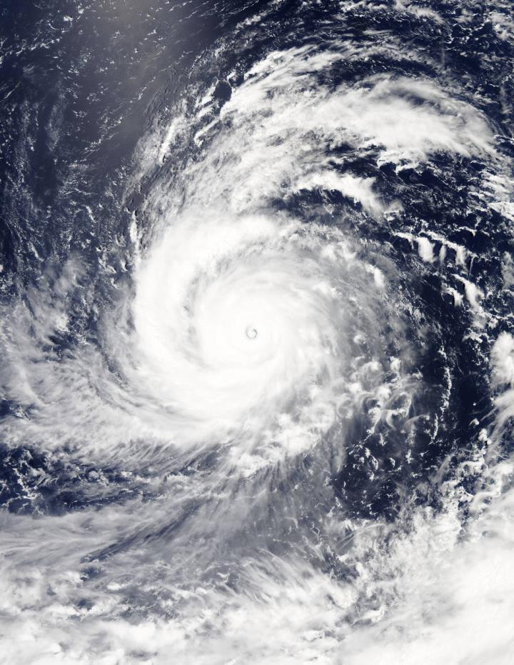 On Aug. 4, 2015, at 4:10 UTC (12:10 a.m. EDT) the MODIS instrument aboard NASA's Aqua satellite captured this visible-light image of Super typhoon Soudelor. CREDIT Credits: NASA Goddard's MODIS Rapid Response Team