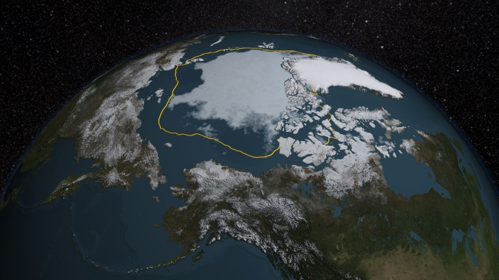 The 2015 Arctic sea ice summertime minimum is 699,000 square miles below the 1981-2010 average, shown here as a gold line. Credits: NASA/Goddard Scientific Visualization Studio