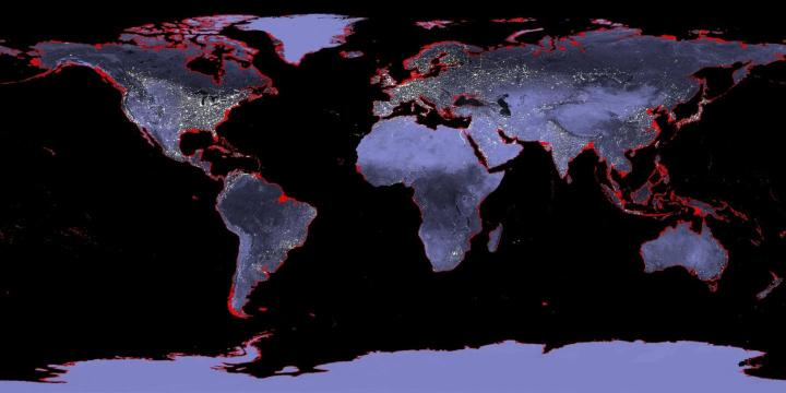 This is a map of the Earth with a 6-meter sea level rise represented in red. A new Stanford study says that the sea level rise associated with a warming world may not be as high as predicted. CREDIT NASA
