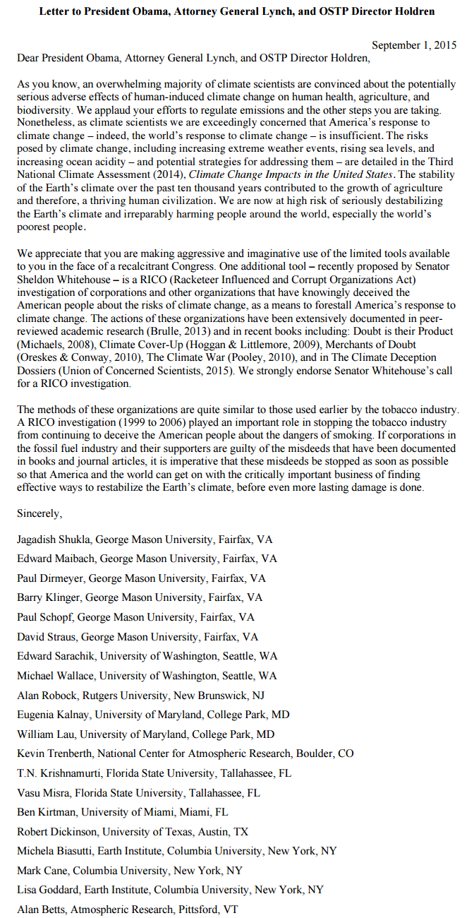 The Rico 20 Letter To Obama Asking For Prosecution Of Climate